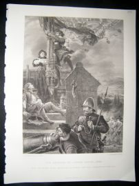 Military 1870 Steel Engraving. Defence of Lathom House